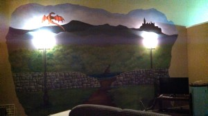 Day Four of painting. The Brandywine River gets filled in, and the lampposts from The Chronicles of Narnia appear!